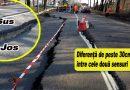 Blocaj de ultimă oră pe un drum național din Buzău! Jumătate din drum s-a scufundat! Iată foto de la fața locului