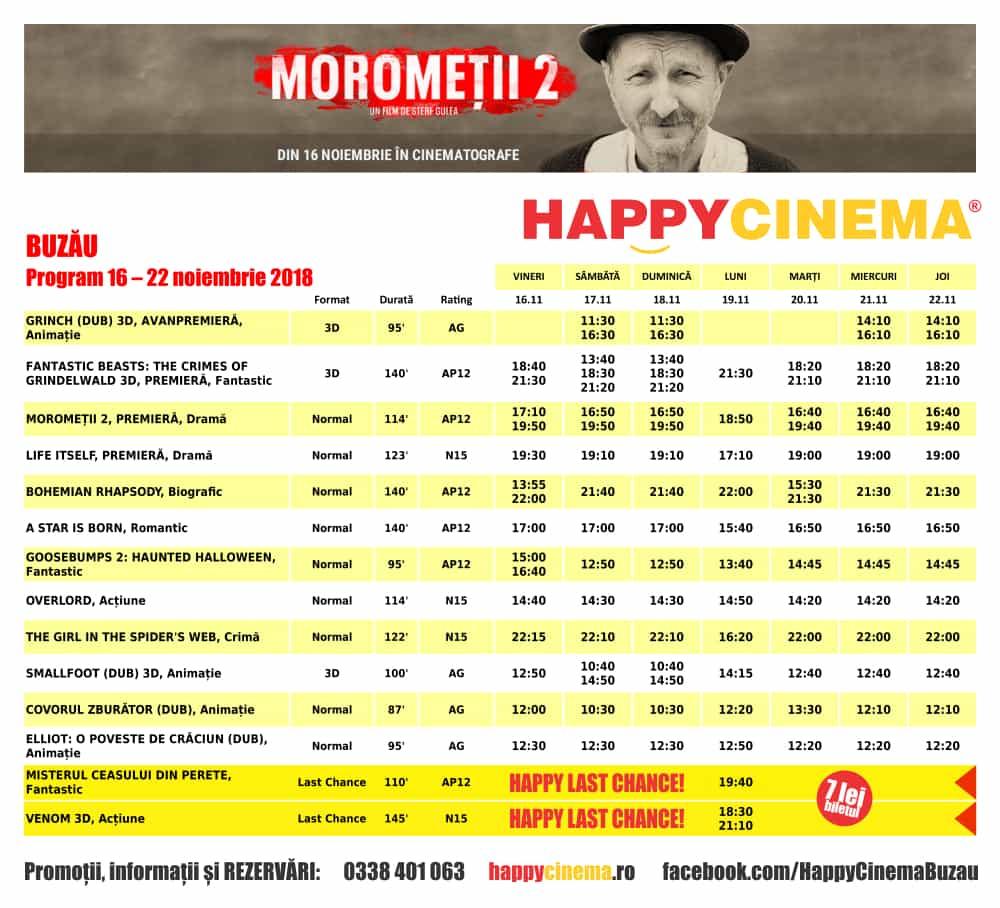 Program 16 noiembrie – 22 noiembrie Happy Cinema Buzău; Click pentru mărire